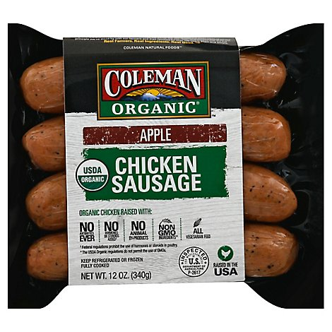 Coleman Organic Chicken Sausage Apple - 12 Oz