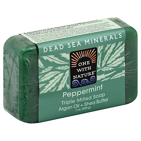 One With Nature Peppermint Triple Mild Soap Argan Oil & Shea Butter - 7 Oz