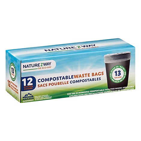 Naturezway Compostable Trash Bags 13 Gallon - 12 Count