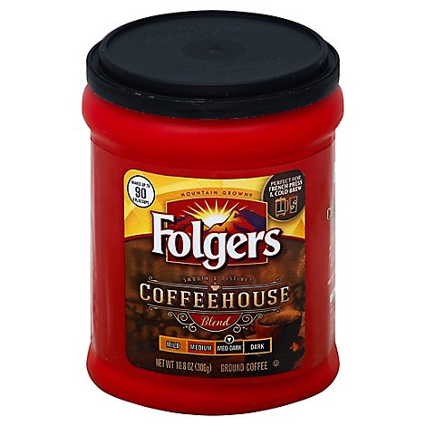 Folgers Coffee Ground Medium-Dark Roast Coffeehouse Blend - 10.8 Oz