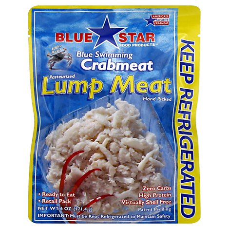 Blue Star Crab Lump Meat Pasteurized - 6 Oz