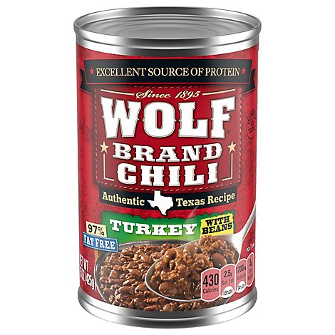 Wolf Brand Chili With Beans Turkey 97% Fat Free - 15 Oz