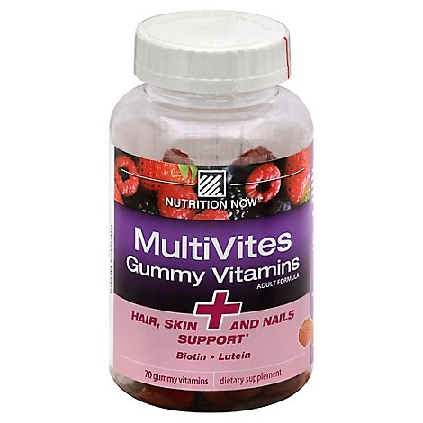 Nutrition Now MultiVites Gummy Vitamins Adult Formula Natural Berry Flavor - 70 Count
