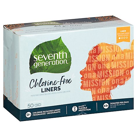 Seventh Generation Pantiliner Pads Chlorine Free Light Absorbency - 50 Count