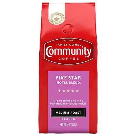 Community Coffee Coffee Ground Medium Roast Hotel Blend - 12 Oz