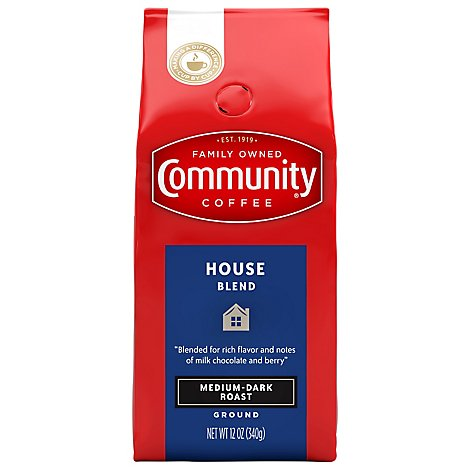 Community Coffee Coffee Ground Medium Dark Roast House Blend - 12 Oz