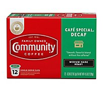 Community Coffee Coffee K-Cup Pods Medium Dark Roast Cafe Special Decaf - 12 Count