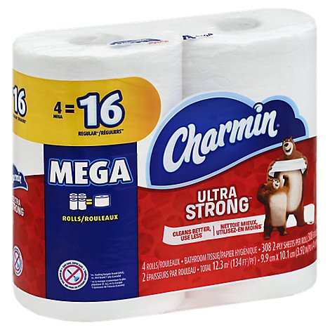 Charmin Bathroom Tissue Ultra Strong Mega Roll 2 Ply - 4 Roll