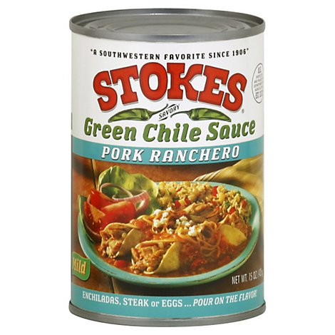 Stokes Green Chile Sauce Pork Ranchero Mild Can - 15 Oz