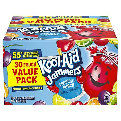 Kool-Aid Jammers Drink Tropical Punch Value Pack - 30-6 Fl. Oz.