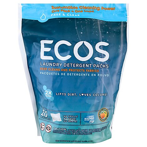 ECOS Laundry Detergent Pods 2X Ultra Free And Clear Pouch - 17.98 Oz