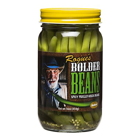 Rogues Bolder Beans Pickled Green Beans Pickled Spicy Medium - 16 Oz