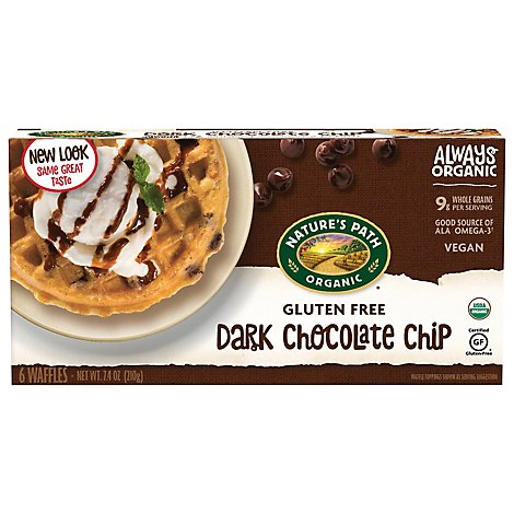 Natures Path Organic Waffles Dark Chocolate Chip Gluten Free 6 Count - 7.4 oz