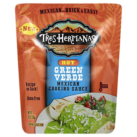 Tres Hermanas Cooking Sauce Mexican Green Verde Hot Pouch - 8 Oz