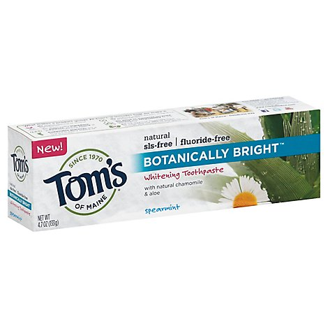 Toms Of Maine Toothpaste Whitening Spearmint Botanically Bright Spearmint Fluoride-Free - 4.7 Oz