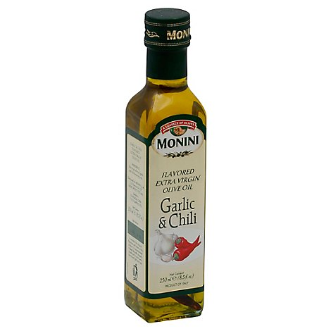 Monini Olive Oil Extra Virgin Flavored Garlic & Chili - 8.5 Fl. Oz.