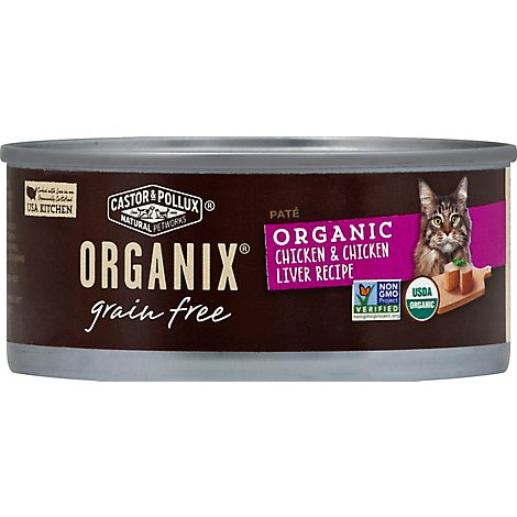 Castor & Pollux Organix Cat Food Organic Adult Grain Free Chicken & Chicken Liver Pate - 5.5 Oz