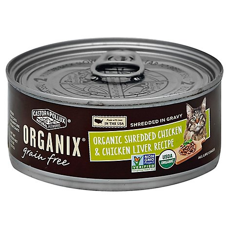 Castor & Pollux Organix Cat Food Organic Adult Grain Free Chicken Liver Shredded Can - 5.5 Oz