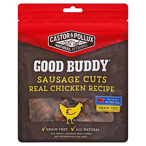 Castor & Pollux Good Buddy Dog Treats Sausage Cuts Real Chicken Recipe Pouch - 5 Oz
