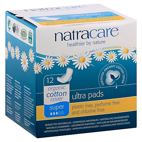 Natracare Pads Ultra Sup Wings - 12 Count