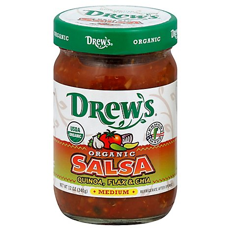 Drews Salsa Organic Quinoa Flax & Chia Medium Jar - 12 Oz