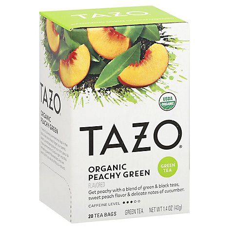 TAZO Tea Bags Green Tea Organic Peachy Green - 20 Count