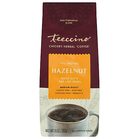 Teeccino Herbal Coffee Organic Caffeine-Free All-Purpose Grind Medium Roast Hazelnut - 11 Oz