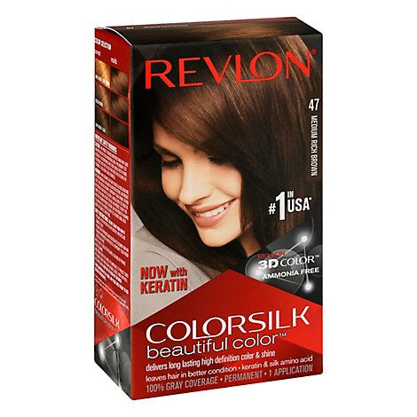 Revlon ColorSilk Beautiful Color Permanent Color Medium Rich Brown 47 - Each