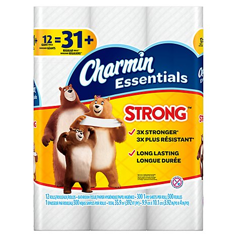 Charmin Essentials Bathroom Tissue Strong Giant Rolls - 12 Count