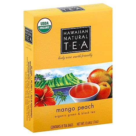Hawaiian Natural TEA Organic Green & Black Tea Mango Peach 8 Count - 0.64 Oz