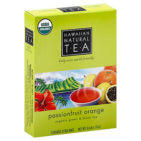 Hawaiian Natural TEA Organic Green & Black Tea Passionfruit Orange 8 Count - 0.64 Oz