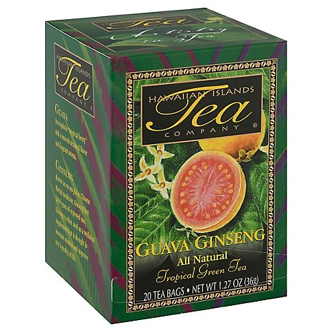 Hawaiian Islands Tea Company Tropical Black Tea Guava Ginseng 20 Count - 1.27 Oz