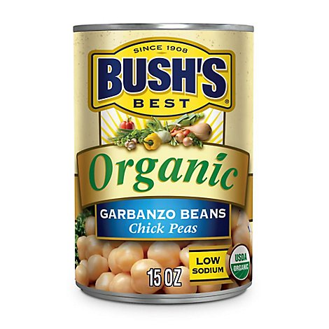 Bushs Organic Beans Garbanzo Chick Peas Low Sodium - 15 Oz