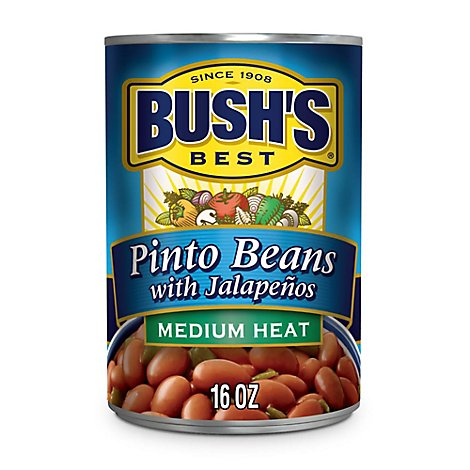 Bushs Beans Pinto with Jalapenos Medium Heat - 16 Oz