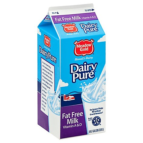 Meadow Gold Fat Free Milk - Half Gallon