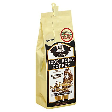 Mulvadi Coffee Gourmet Roast Coffee Kona Pure Ground - 7 Oz