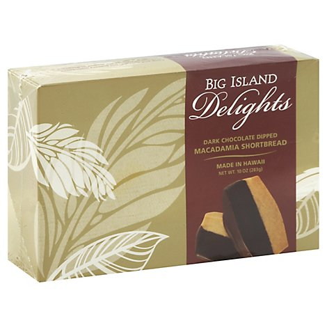 Big Island Delights Macadamia Shortbread Dark Chocolate Dipped - 10 Oz