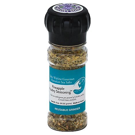 Salty Wahine Gourmet Hawaiian Sea Salts Seasoning Pineapple Poultry Reusable Grinder - 3 Oz
