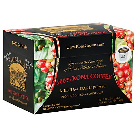 Hualalai Estate Coffee K-Cup Medium-Dark Roast Kona Coffee - 12-0.39 Oz