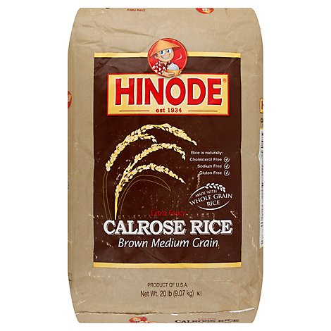 Hinode Rice Brown Calrose Medium Grain Extra Fancy - 20 Lb