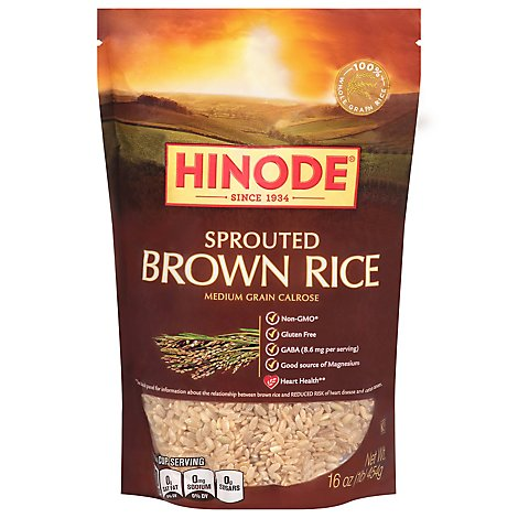 Hinode Rice Brown Calrose Medium Grain Sprouted - 16 Oz