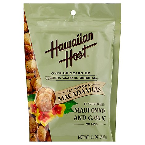 Hawaiian Host Macadamias Flavored with Maui Onion and Garlic - 11 Oz