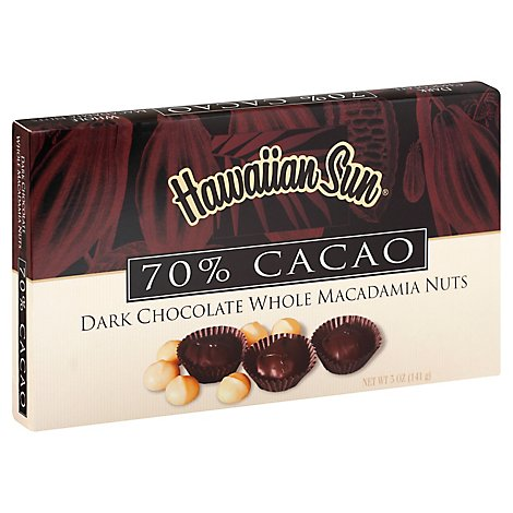 Hawaiian Sun Dark Chocolate Whole Macadamia Nuts 70% - 5 Oz