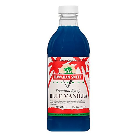 Hawaiian Sweet Islands Premium Blue Vanilla Syrup - 16 Fl. Oz.