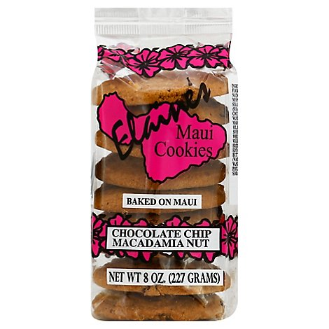 Elaines Maui Cookies Chocolate Chip Macadamia Nut Baked on Maui - 8 Oz