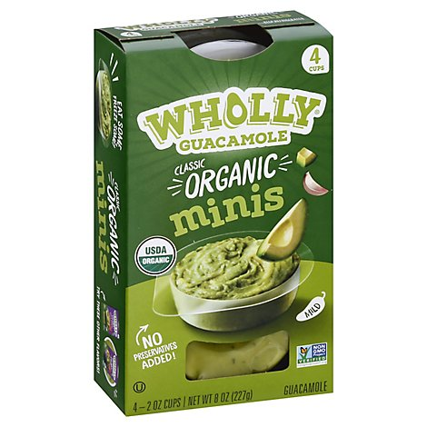 Wholly Guacamole Organic 100 Calorie Cups Mild Minis 4 Count - 8 Oz