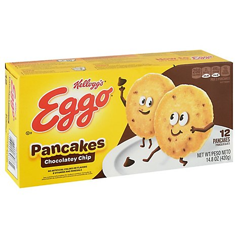 Kelloggs Eggo Frozen Pancakes Chocolate Chip Easy Breakfast Box (12 Count) 14.8 oz