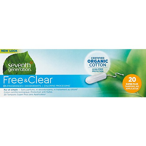 Seven Generation Chlorine Free Super Plus Tampons - 20 Count