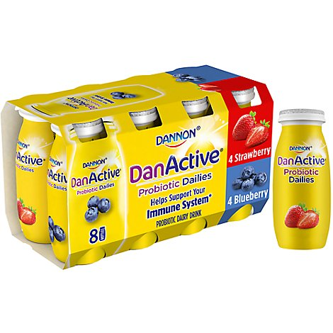 Dannon DanActive Probiotic Dairy Drink Strawberry & Blueberry - 8-3.1 Fl. Oz.