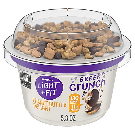 Dannon Light & Fit Yogurt Greek Crunch Nonfat Peanut Butter Delight - 5.3 Oz